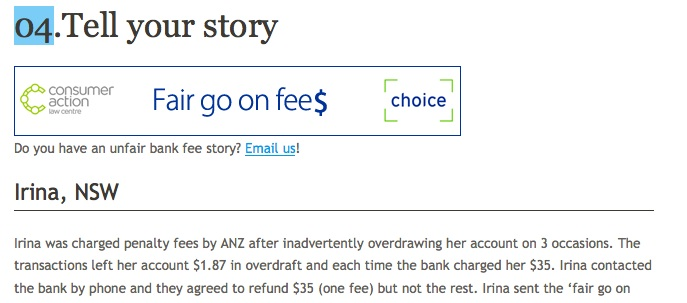 Fair Go On Fees clip from Choice web site