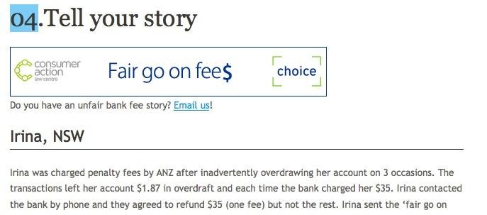 Fair Go On Fees clip from Choice web site