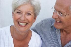 Senior couple smiling close-up