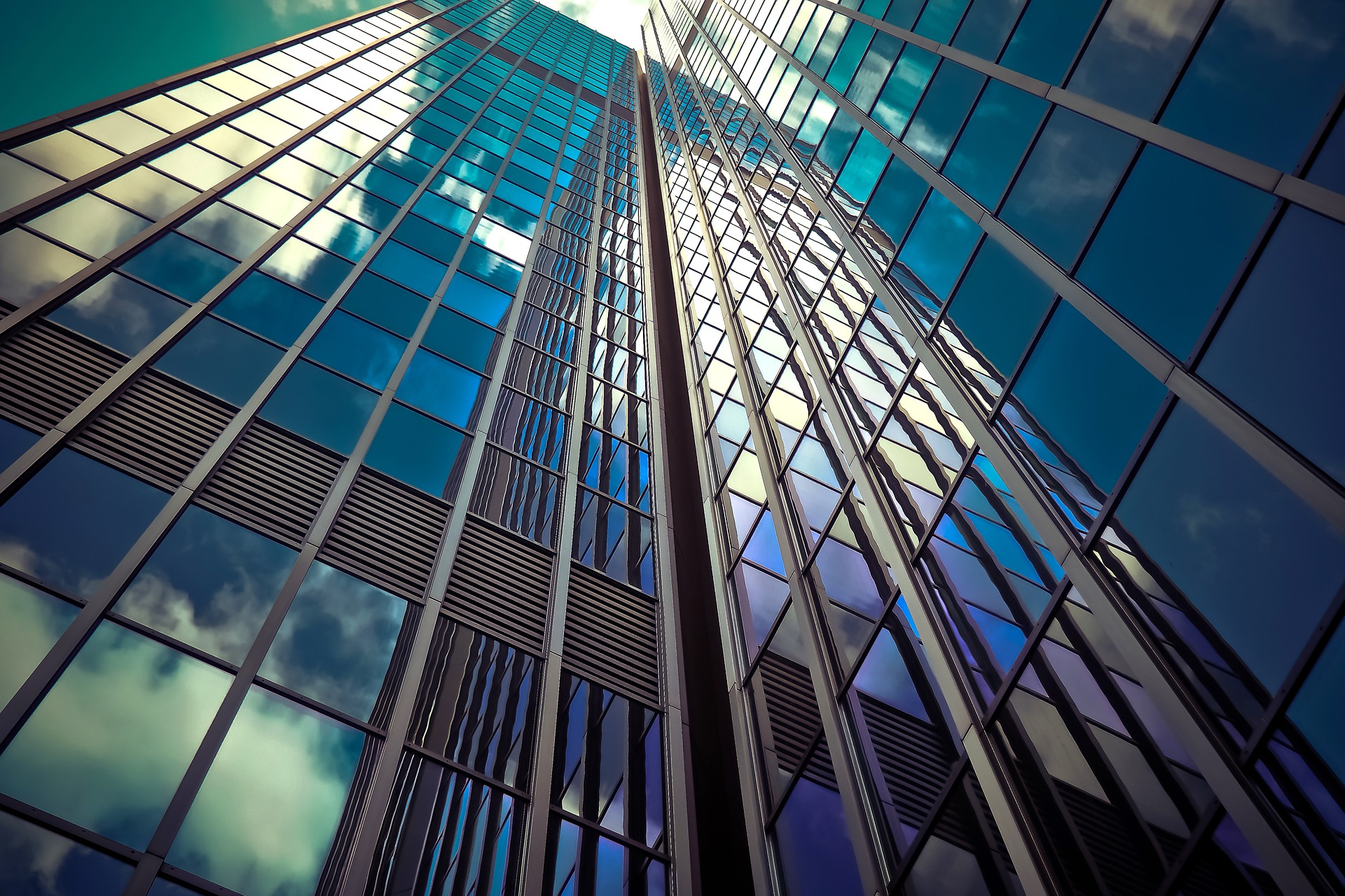 An up-close image of a skyscraper