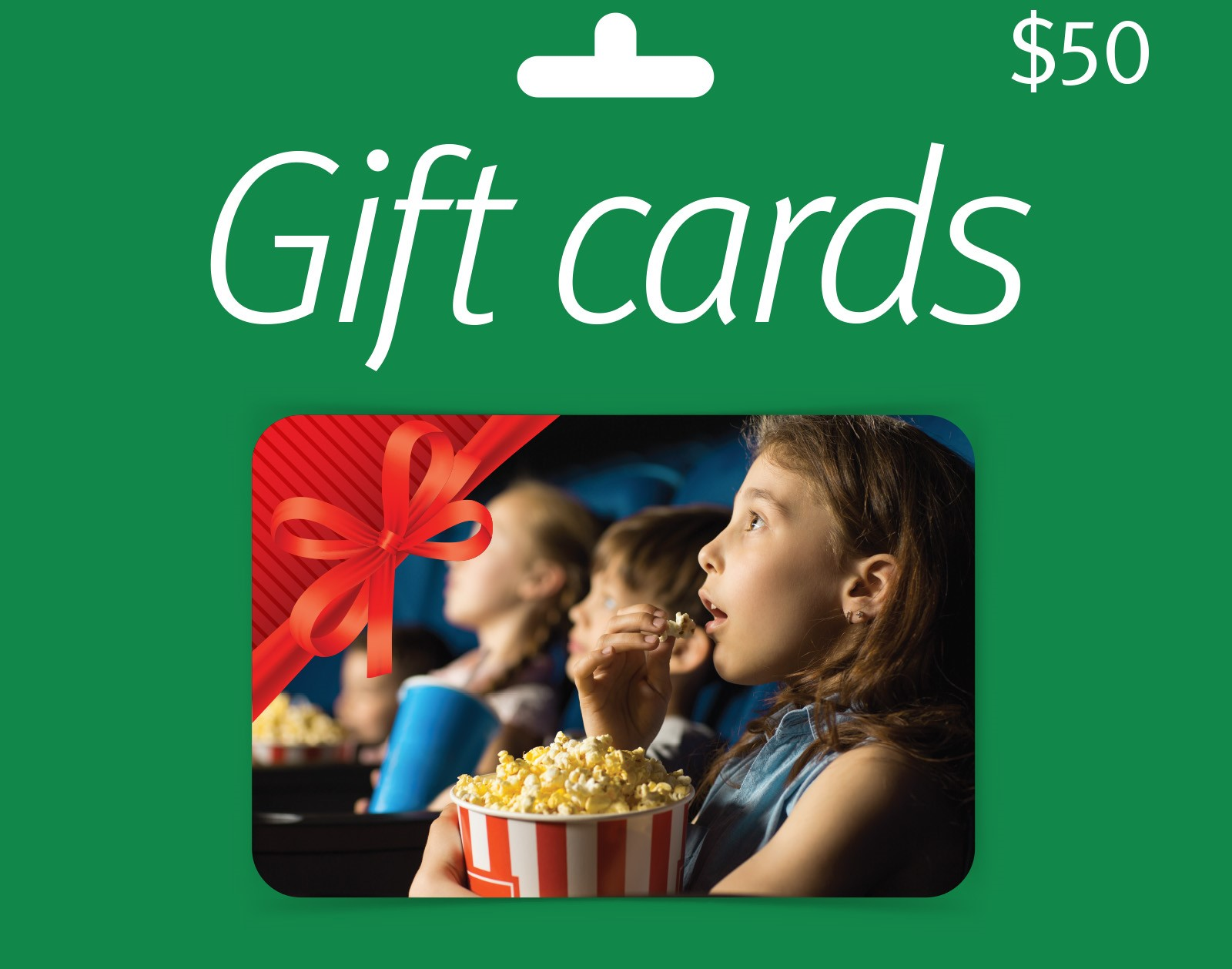 A gift card for fifty dollars. On it a photo of a child eating popcorn at the cinema