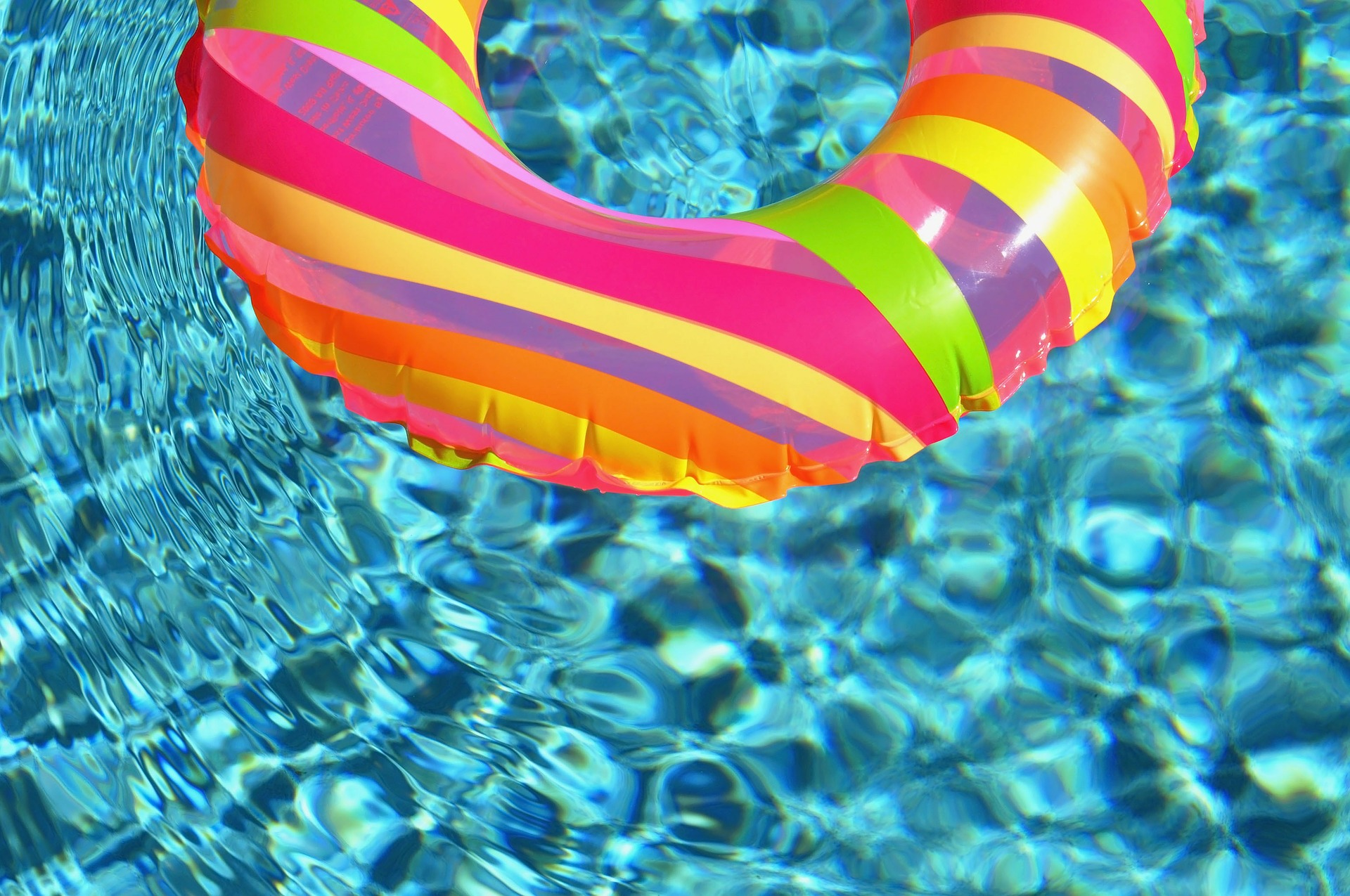 A blow-up swimming ring in a pool