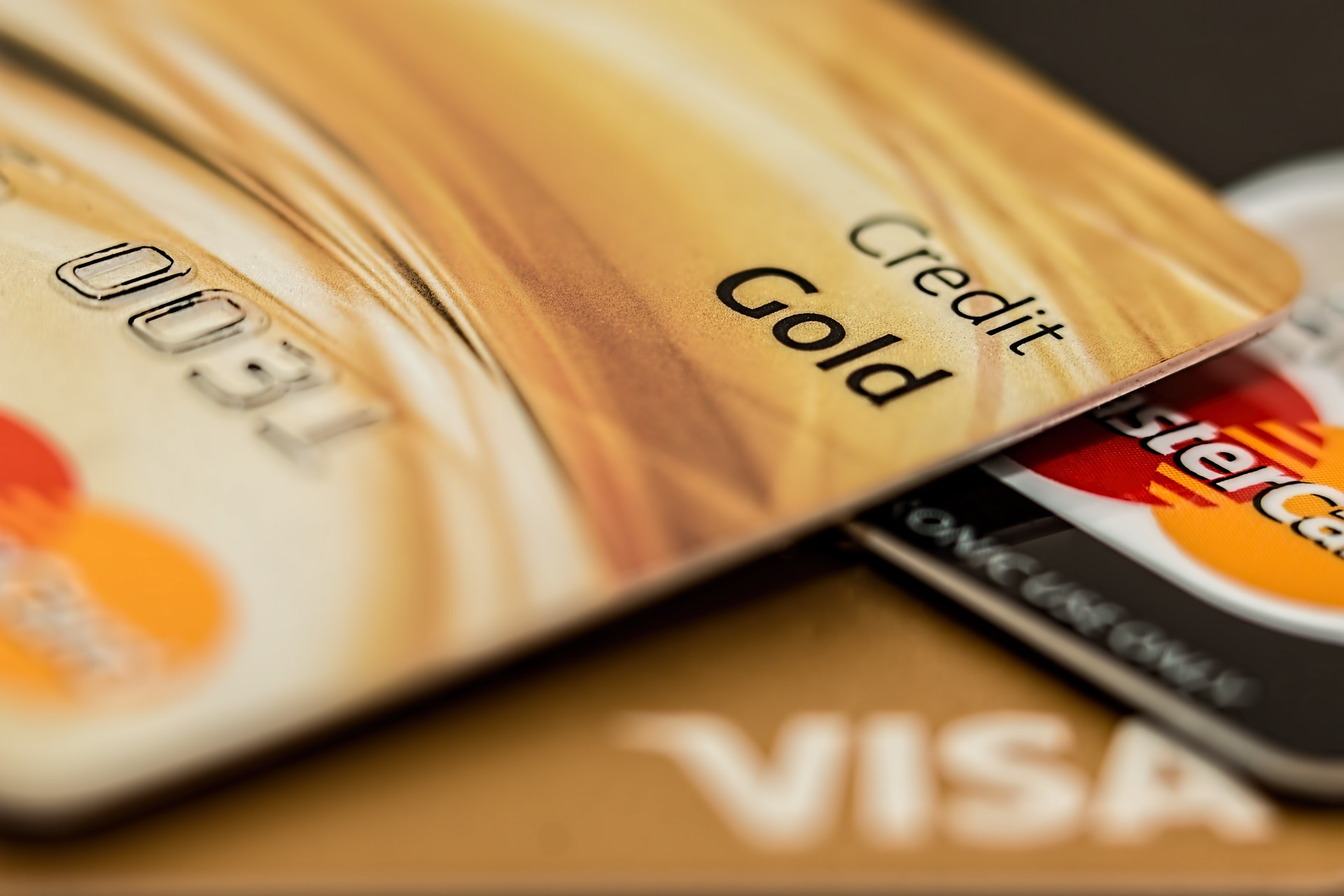 A gold credit card