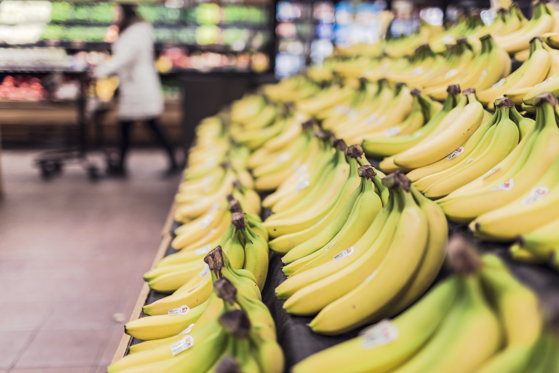 Bananas on a supermarket shelf