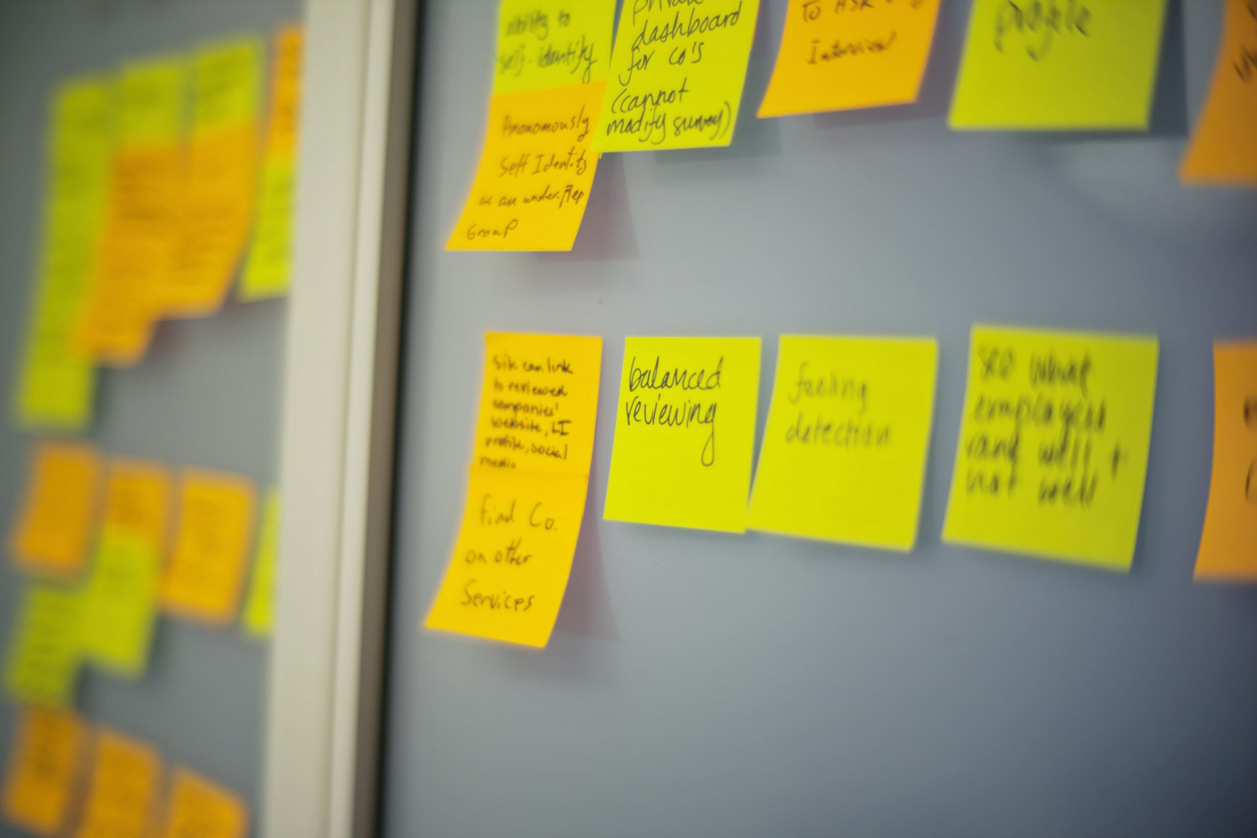 Yellow sticky notes on a board